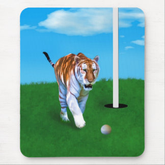 Prowling Tiger and Golf Ball Customizable Mouse Pad
