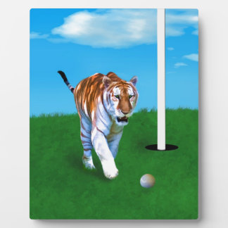 Prowling Tiger and Golf Ball Customizable Plaque