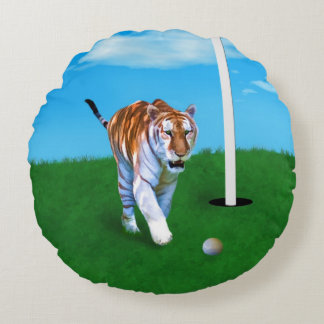 Prowling Tiger and Golf Ball Customizable Round Pillow
