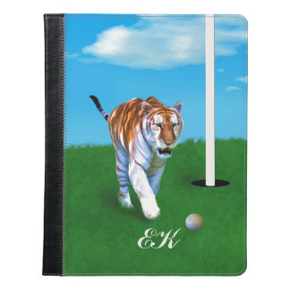Prowling Tiger and Golf Ball, Monogram iPad Case