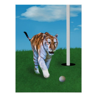 Prowling Tiger and Golf Ball Print