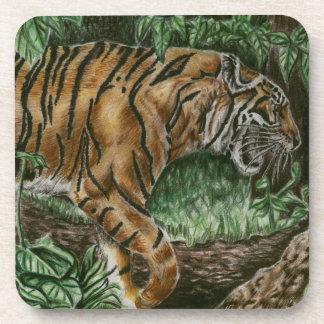 Prowling Tiger cork coaster