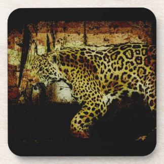 Prowling Wild Jaguar Spotted Panther Design Drink Coaster