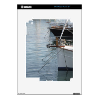 Prows of luxury sailboats moored in the harbor iPad 2 decal