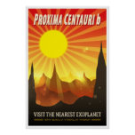 Proxima Centauri b Exoplanet Travel Illustration Poster