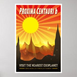 Proxima Centauri b Exoplanet Travel Illustration Poster