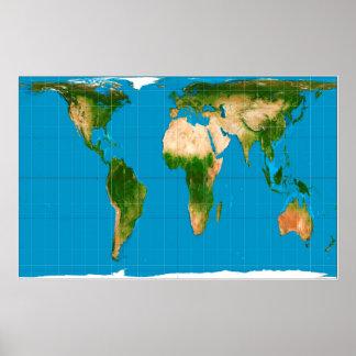 Proyección de mapa del mundo corregida Rozadura-Pe Poster