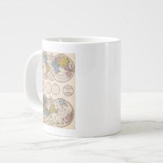 Proyección ecuatorial del mundo y proyección polar taza de café gigante