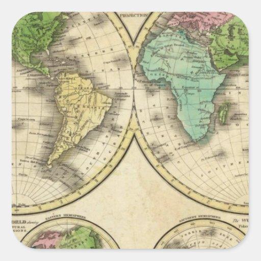 Proyección globular del mundo pegatina cuadrada