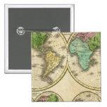 Proyección globular del mundo pin cuadrada 5 cm