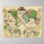 Proyección globular del mundo póster