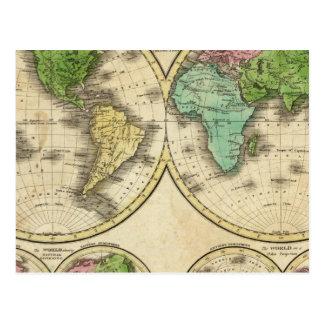 Proyección globular del mundo tarjetas postales