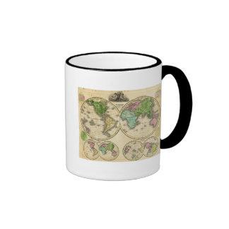 Proyección globular del mundo tazas de café