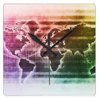 Proyecto de investigación global de la ciencia reloj cuadrado