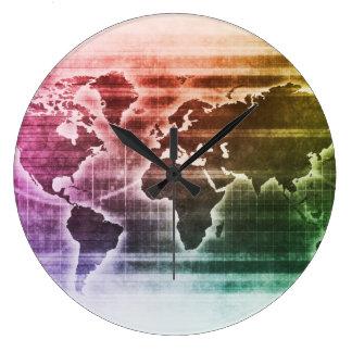 Proyecto de investigación global de la ciencia reloj redondo grande