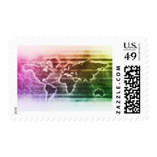 Proyecto de investigación global de la ciencia sello postal
