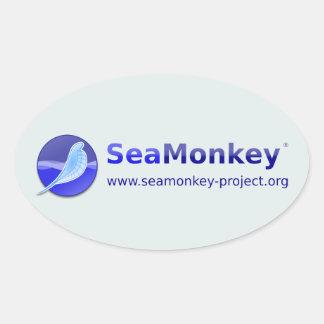 Proyecto de SeaMonkey - logotipo horizontal Calcomanía Ovalada