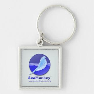 Proyecto de SeaMonkey - logotipo vertical Llavero Cuadrado Plateado