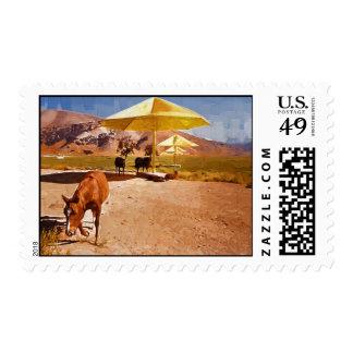 Proyecto del caballo y del paraguas de Christo Sellos Postales