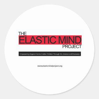 Proyecto elástico de la mente etiqueta redonda