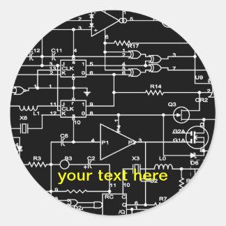 proyecto electrónico pegatinas redondas