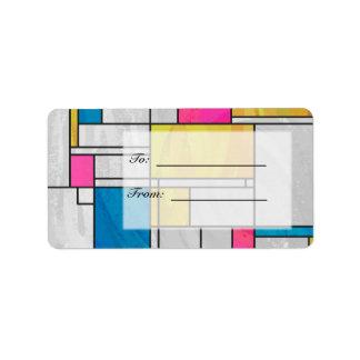 Proyecto original rosado amarillo de Mondrian Etiquetas De Dirección