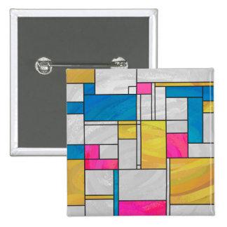 Proyecto original rosado amarillo de Mondrian Chapa Cuadrada 5 Cm