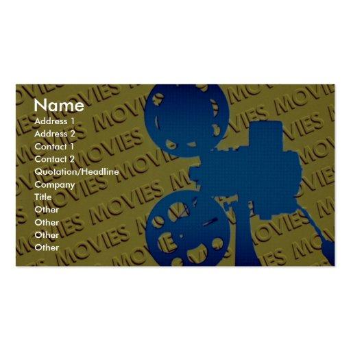 Proyector de película sobre fondo amarillo de las  tarjeta de visita