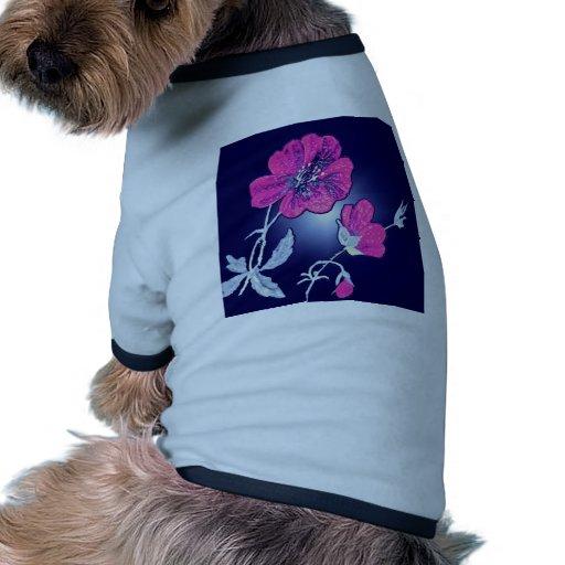 Proyector en la flor rosada, diseño gráfico traser camiseta con mangas para perro