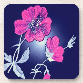 Proyector en la flor rosada, diseño gráfico traser posavaso