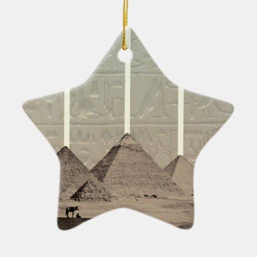Proyectores del jeroglífico de la pirámide adorno navideño de cerámica en forma de estrella