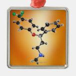 Prozac. Modelo molecular del antidepresivo Adorno Navideño Cuadrado De Metal