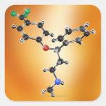 Prozac. Modelo molecular del antidepresivo Pegatina Cuadrada