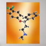 Prozac. Modelo molecular del antidepresivo Posters