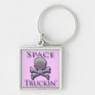 Prpl de Truckin del espacio Llavero Cuadrado Plateado