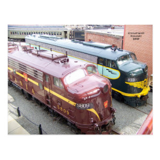 PRR E8A 5809 and ERIE E8A 833 at Steamtown Postcard