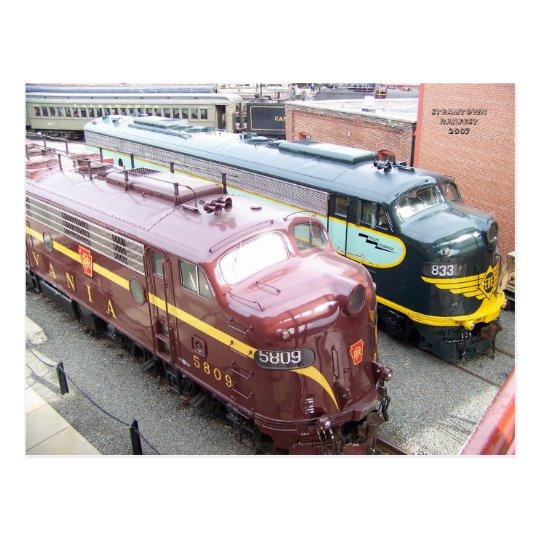 PRR E8A 5809 and ERIE E8A 833 at Steamtown Postcard