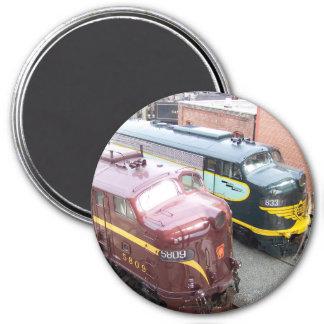 PRR E8A 5809 y ERIE E8A 833 @ Steamtown Imán Redondo 7 Cm