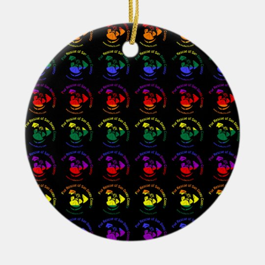 PRSDC Logo - Rainbow Pride Ceramic Ornament