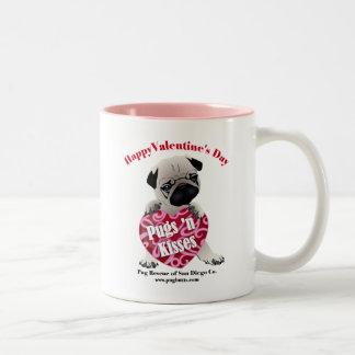 PRSDC Valentine Pug - Fawn - For Pugs N Kisses Two-Tone Coffee Mug
