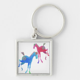 Prteey Ponies Red gifts & greetings Silver-Colored Square Keychain