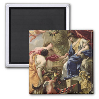 Prudence Leading Peace and Abundance, c.1645 (oil 2 Inch Square Magnet