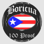 Prueba de Boricua 100 Pegatina Redonda
