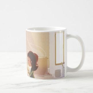 Prueba de degustación - hija de la madre taza de café