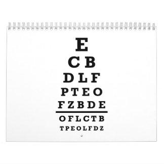 Prueba de la carta de ojo calendario de pared