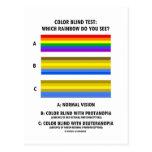 Prueba del daltónico (colores de la prueba de Visi Tarjetas Postales