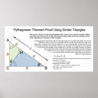 Prueba del teorema pitagórico usando triángulos si posters