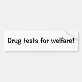 Pruebas de droga para el bienestar pegatina para auto