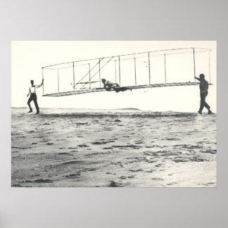 Pruebas del planeador de los hermanos de Wright Poster