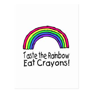 Pruebe el arco iris comen los creyones postales